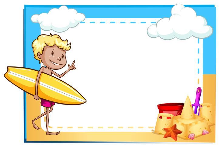 Frame met een jongen op het strand vector