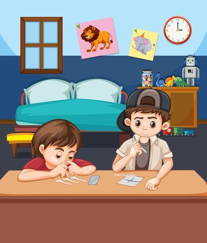 Dos niño aspirando cocaína vector