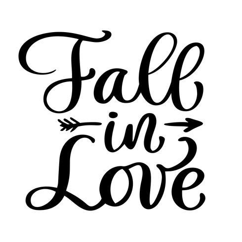 Innamorarsi cartolina vettoriale. Frase per San Valentino. Illustrazione di inchiostro Testo di calligrafia moderna pennello. Isolato su sfondo bianco