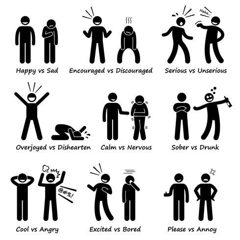 Sentimientos opuestos Emociones positivas y negativas Acciones Figura de palo Iconos de pictogramas.
