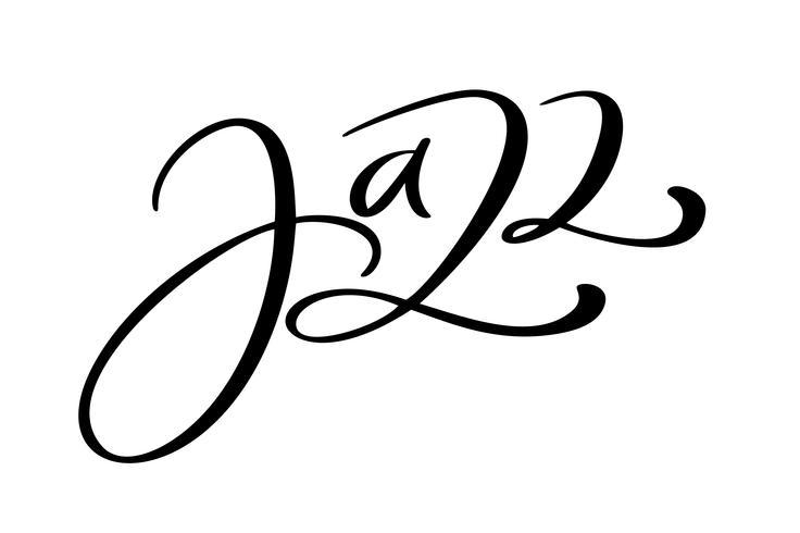 Cita de música de caligrafía moderna de jazz. Texto escrito mano estacional de las letras, aislado en el fondo blanco. Frase de ilustración vectorial vector