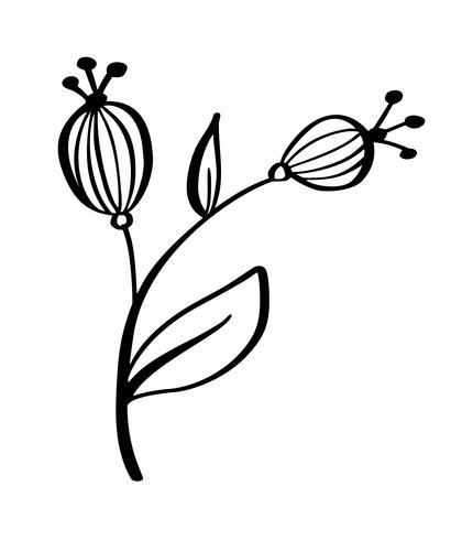 Disegnati a mano fiori moderni disegno e schizzo floreale con linea-arte, disegno vettoriale illustrazione vettoriale per t-shirt, borse, per poster, biglietti di auguri, isolato su sfondo bianco