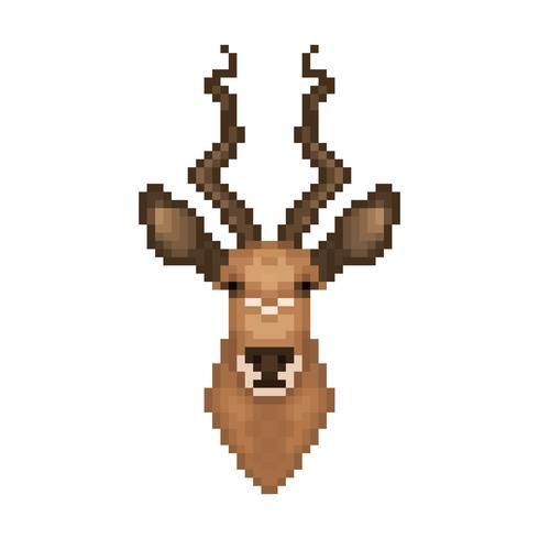 Antelope head in pixel art style.
