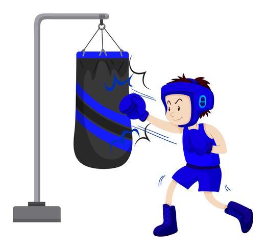 Boxeador de perforación en saco de boxeo vector