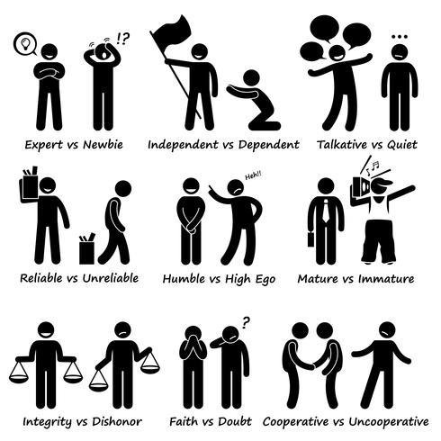 Human Opposite Behaviour Positive vs Negative Character Traits Stick Figure Pictogram Icons.