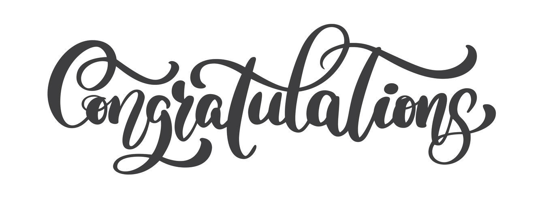 Texto de caligrafía de felicitaciones escrito a mano