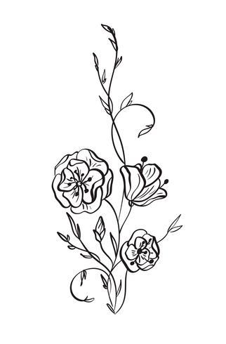 Mão desenhada selvagem rosa flores vector desenho e desenho com linha-arte em fundo branco