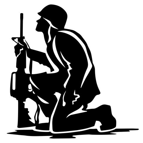 Soldado militar ajoelhado silhueta ilustração vetorial vetor