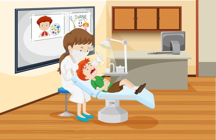Un ragazzo alla clinica dentale vettore