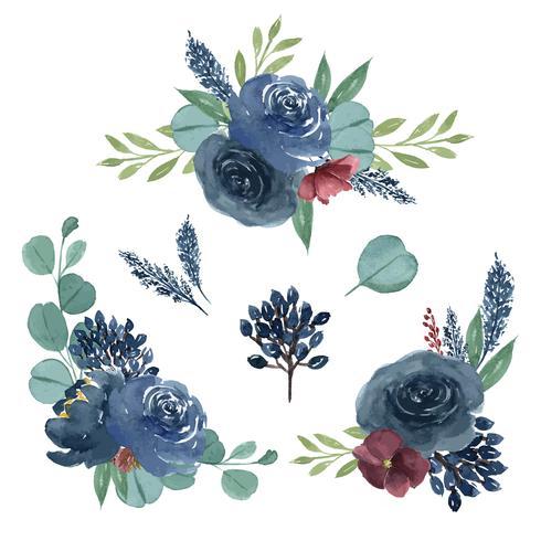 Acuarela ramos florales pintados a mano exuberantes flores llustration estilo vintage acuarela aislado sobre fondo blanco. Diseño de decoración para la tarjeta, guardar la fecha, tarjetas de invitación de boda, cartel, banner