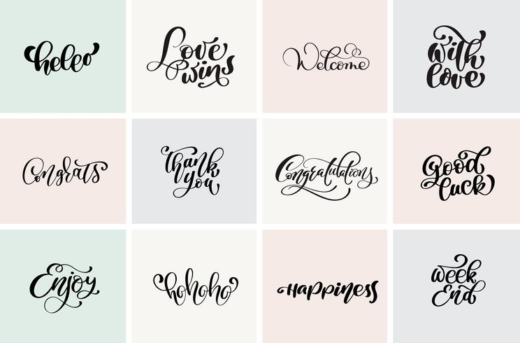 Welcome, Thank you, Congratulation, Good luck, weekend, etc. Set positive quotes of vector modern calligraphy and hand drawn elements. Typographical concept. Usable for cards, posters, photo overlay