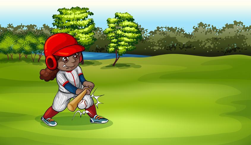 Una joven jugando beisbol vector