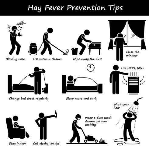 Hay Fever Prevention Allergy Tips Stick Figure Pictogram Icons. vector