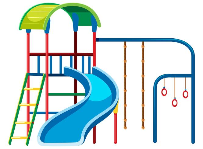Playground slide set on white background