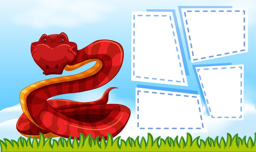 A red snake on blank note vector