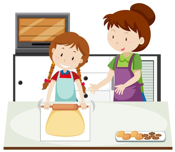 Uma mãe ensina a filha a assar vetor