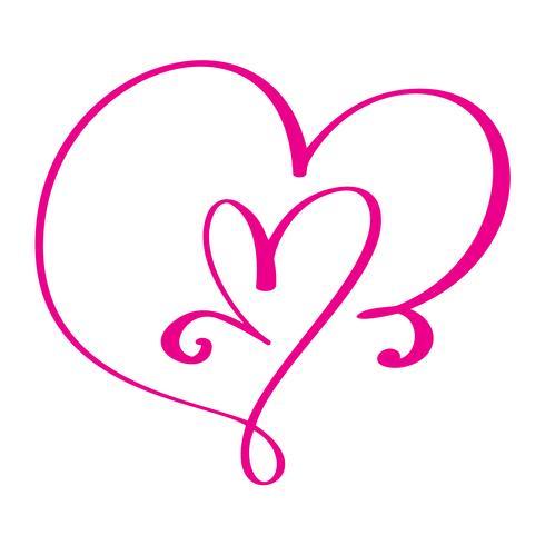 Corazón amor signo para siempre para el feliz día de San Valentín. Símbolo infinito romántico vinculado, unirse, pasión y boda. Plantilla para la camiseta, tarjeta, cartel. Elemento plano de diseño. Ilustración vectorial vector