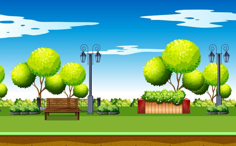 Scena del parco pubblico con panca e lampade