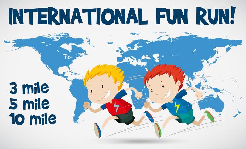 International fun run poster with runners