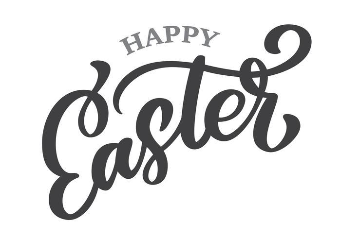 Handtecknad bokstäver Glad påsk vektor kalligrafi illustration. Design för inbjudningar, hälsningskort. Isolerad på vit bakgrund