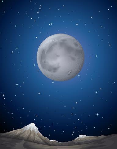 Scena con la luna sul pianeta vettore