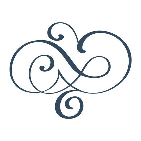 Dibujado a mano frontera florecer separador elementos de diseño de caligrafía. Ilustración de la boda de la vendimia del vector aislada en el fondo blanco