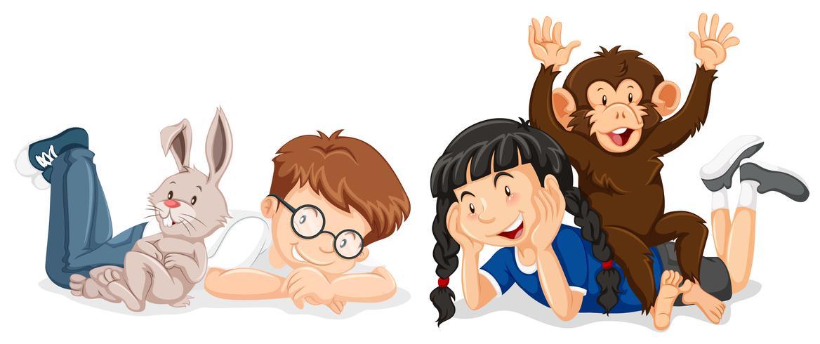 Niños con conejo y mono. vector