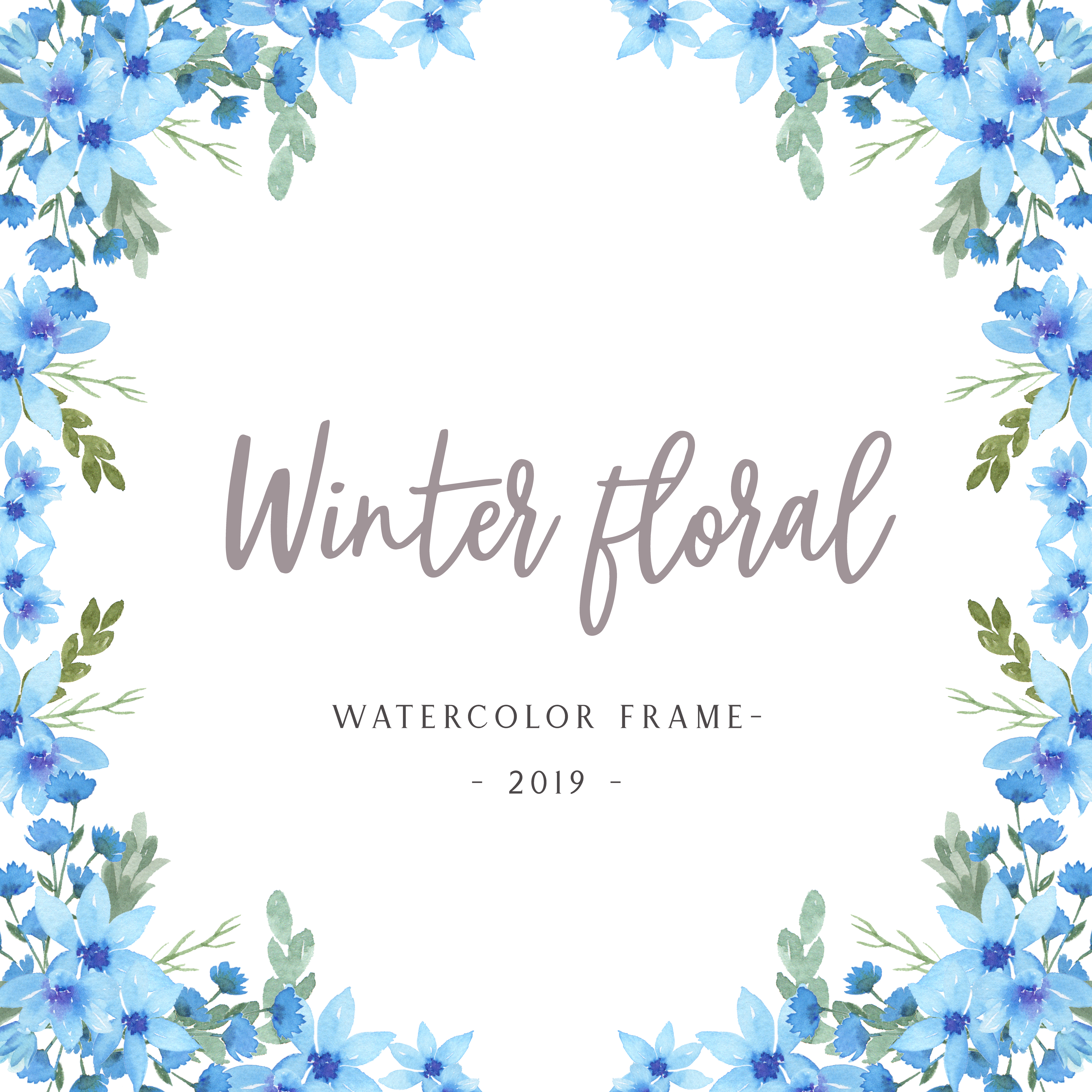 watercolor florals with text frame border lush flowers
