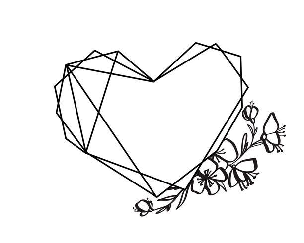 Grafische floral geometrie hart frame vector