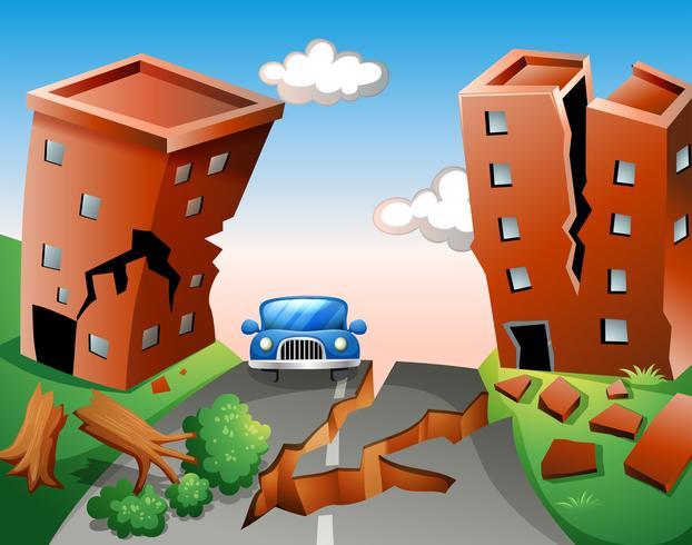 Erdbebenszene in der Stadt vektor