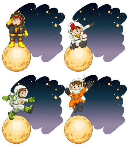 Astronautas parados en la luna