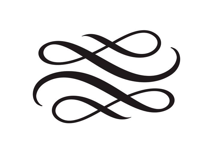 El elemento floral de la caligrafía del vector florece, divisor para la decoración de la página y la frontera del remolino del ejemplo del diseño del marco. Silueta decorativa para invitaciones e invitaciones de boda. Flor de la vendimia