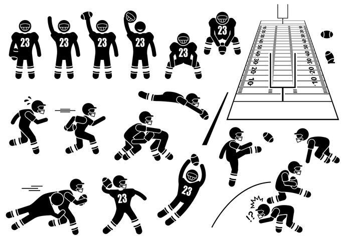 Actions de joueur de football américain pose des icônes de pictogramme de bonhomme allumette.