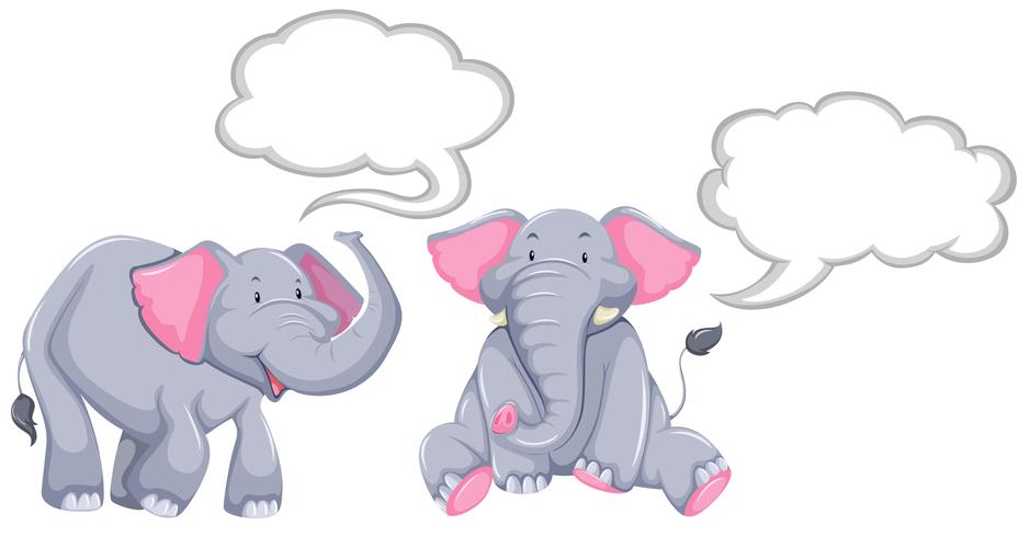 Elephants with blank speech bubbles