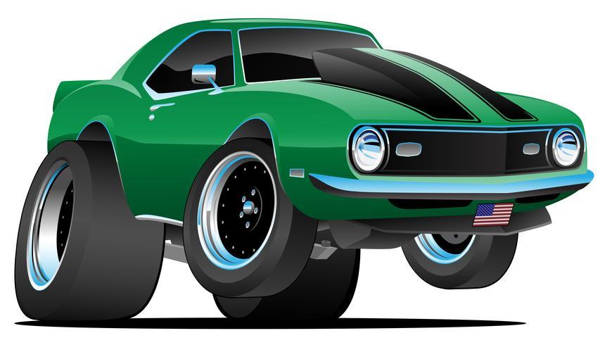 Ilustração clássica do vetor dos desenhos animados do carro do músculo do estilo dos anos sessenta do clássico
