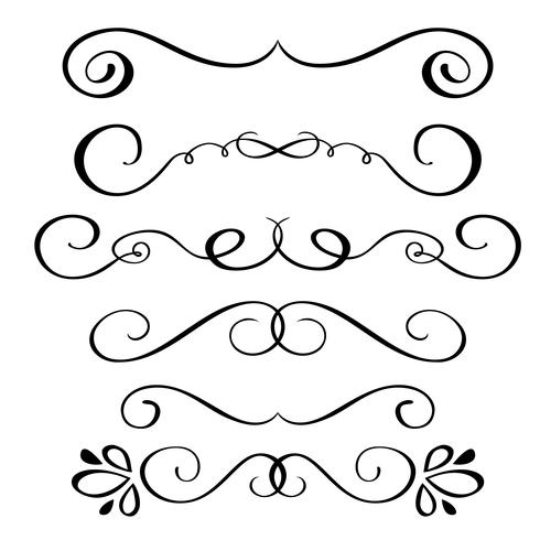 Set hand drawn flourish Calligraphy elements