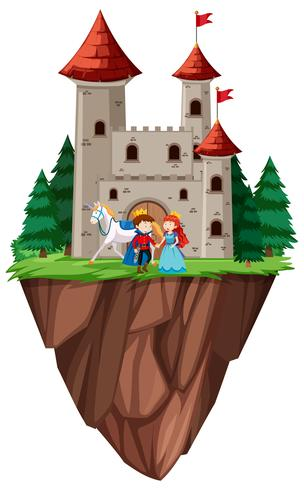 Isolated prince and princess castle vector