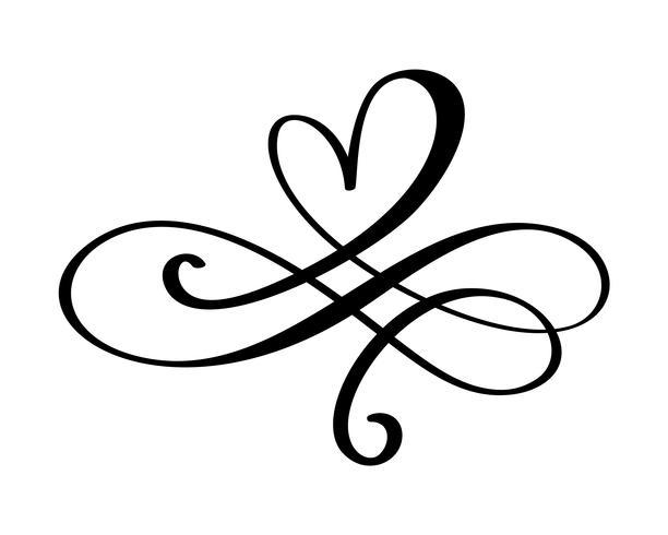 Segno di amore cuore disegnato a mano. Simbolo romantico dell'icona del divisore dell'illustrazione di vettore di calligrafia per la maglietta, cartolina d'auguri, nozze del manifesto. Design piatto elemento del giorno di San Valentino