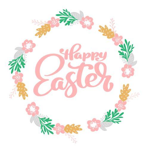 Disegnato a mano lettering Buona Pasqua corona con fiori