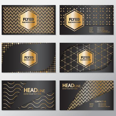 Gold banner background flyer style Design Template vector