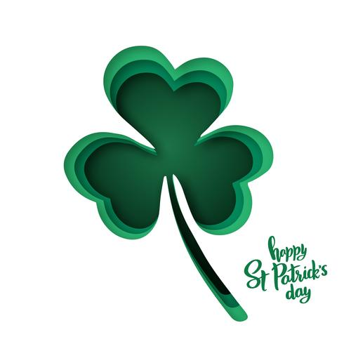 Forme di carta tagliate con silhouette di trifoglio e lettering Happy St.Patrick's Day.