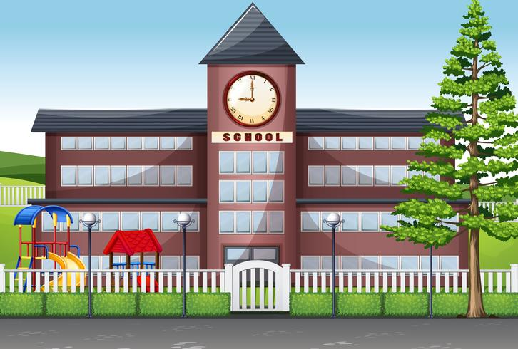 Edificio scolastico e parco giochi vettore