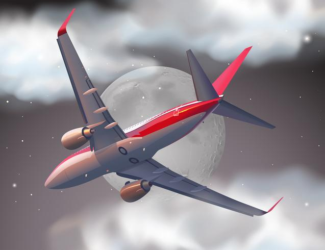 Vliegtuig die op de fullmoon nacht vliegen