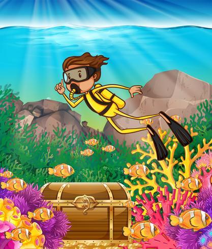 Man duiken onder de oceaan