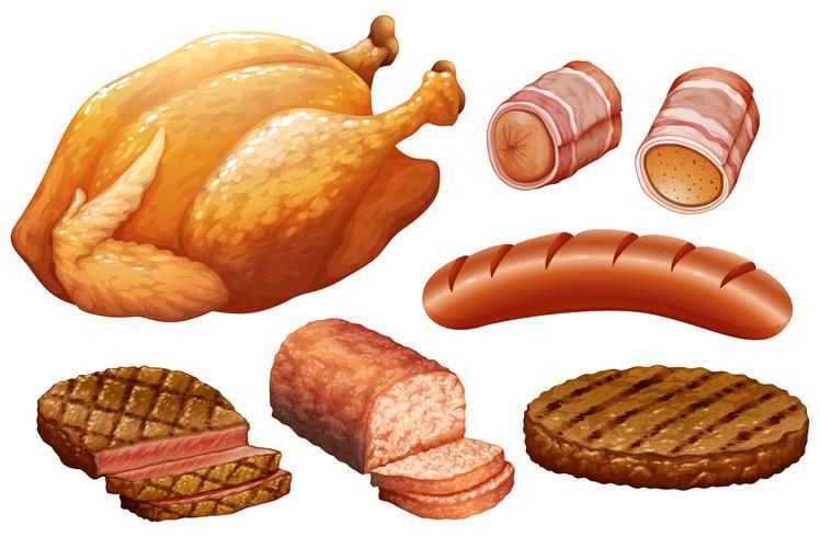 Conjunto de carne sobre fondo blanco vector