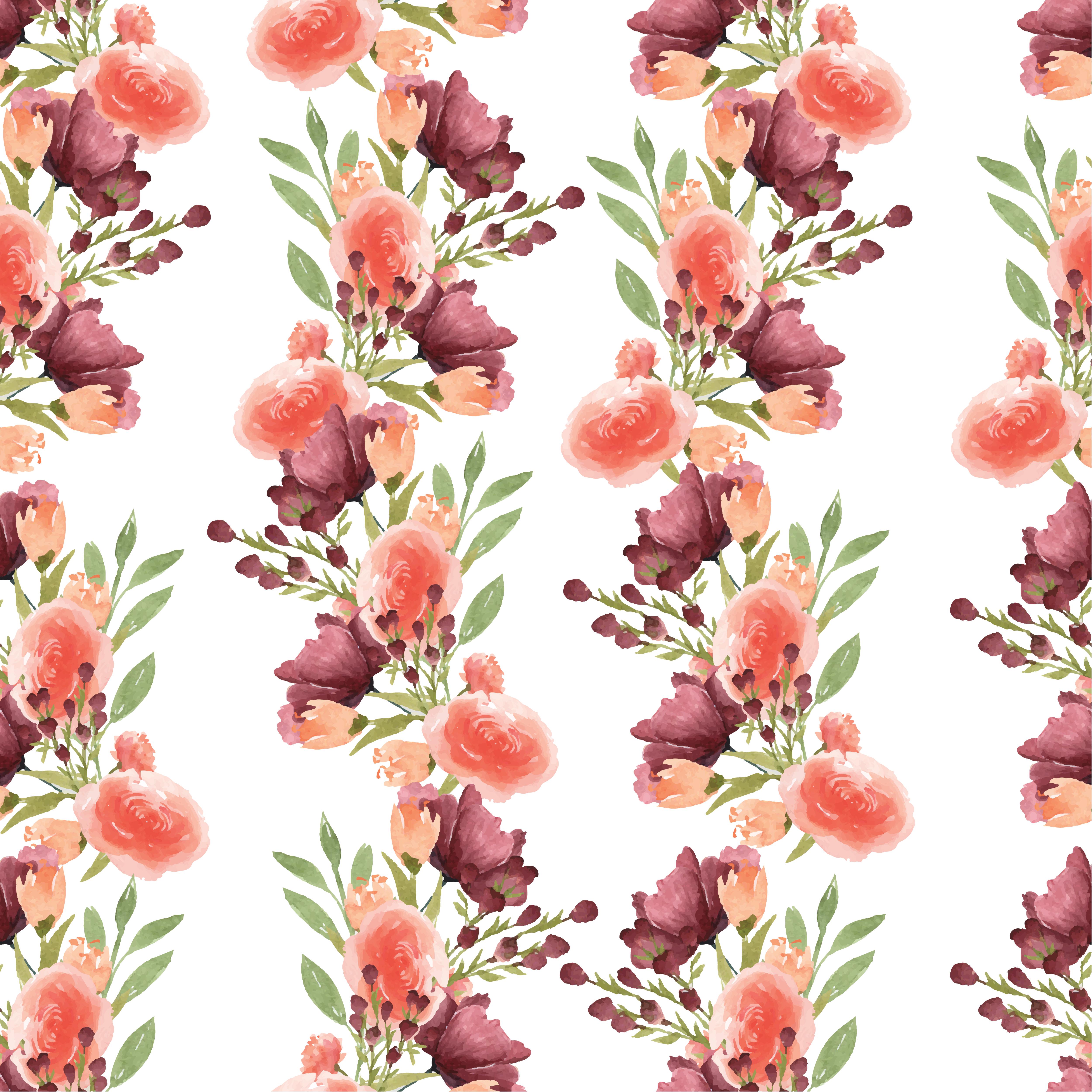 Pattern Seamless Floral Lush Watercolour Style Vintage
