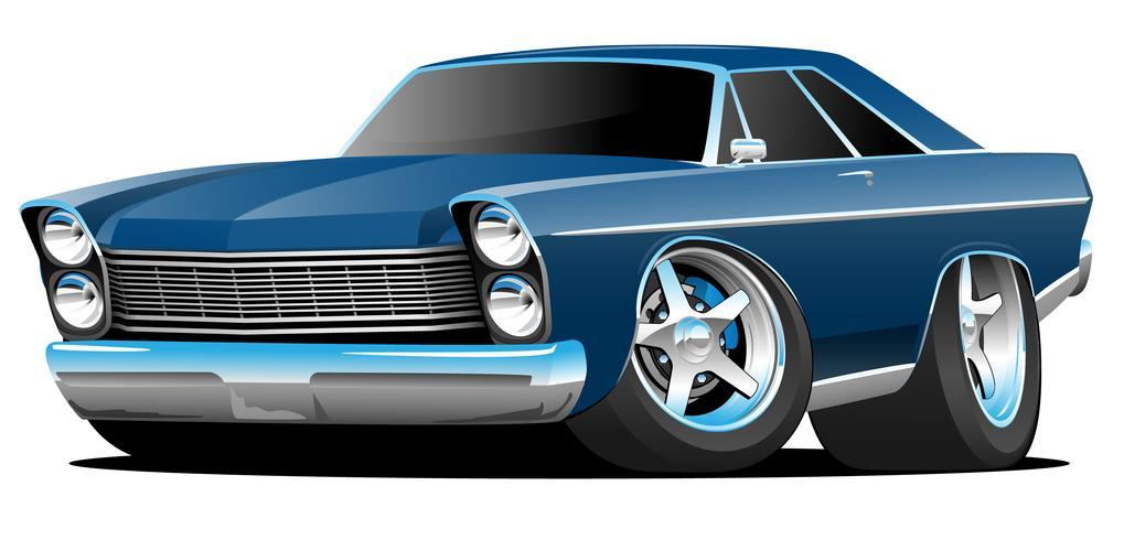 Clásico de los sesenta estilo Big American Muscle Car Cartoon Vector Illustration