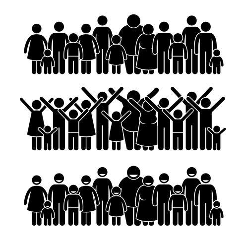 Grupo de pessoas em pé comunidade Stick figura pictograma ícones.