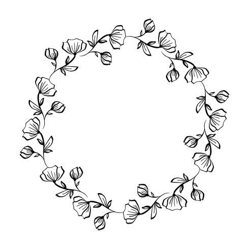 La lavanda florece la guirnalda decorativa aislada en el fondo blanco, mano del marco redondo dibujado doodle del vector bosquejo línea arte gráfico diseño para la tarjeta de felicitación, invitación, diseño de la boda, cosmético