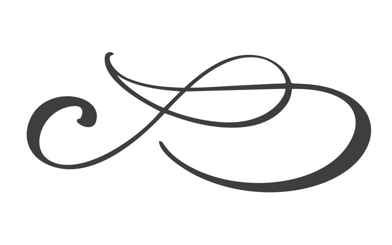 hand drawn flourish separator Calligraphy elements symbol linked, join, passion and wedding. Template for t shirt, card, poster. Design flat element of valentine day. Vector illustration